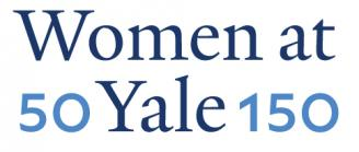 Logo showing 50 and 150 on each side of Women at Yale