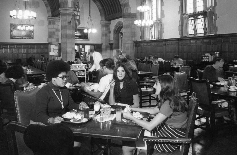 Three women undergraduates have lunch together in Berkley College dining hall